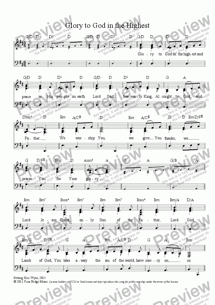 page one of Glory to God in the Highest (Gloria)
