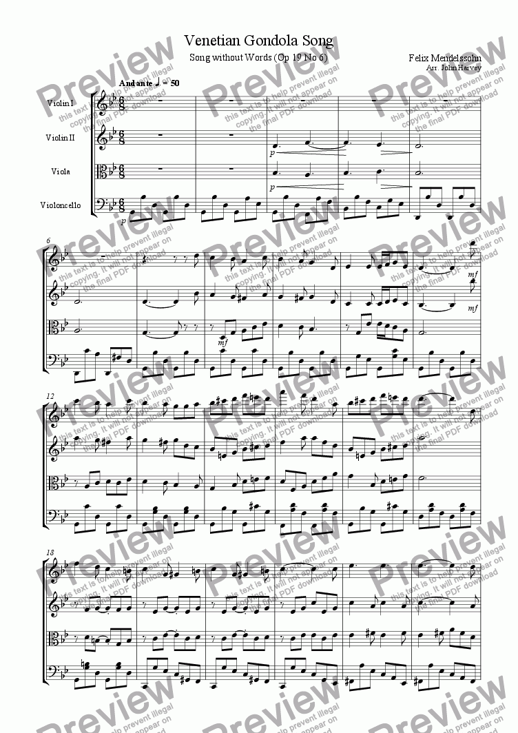page one of Venetian Gondola Song Op 19 no 6