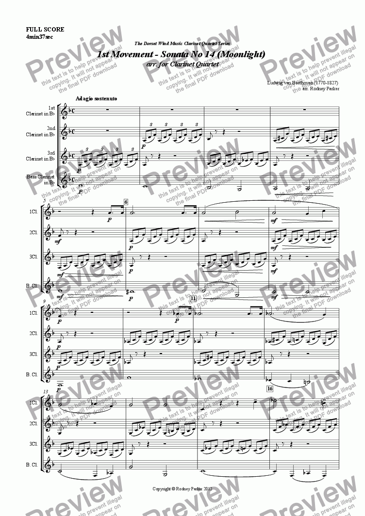 page one of 1st Movement - Sonata No 14 (Moonlight)  arr. for Clarinet Quartet