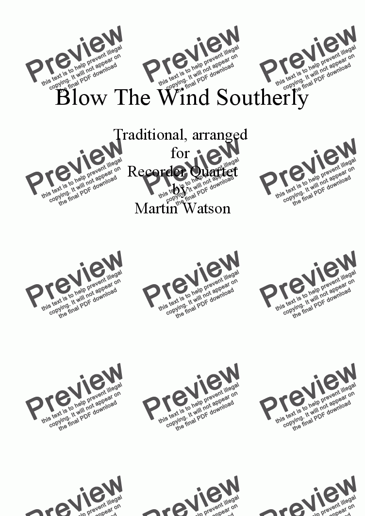 page one of Blow The Wind Southerly for Clarinet Quartet