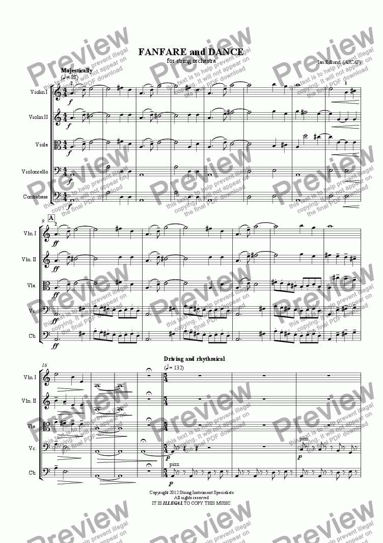 page one of FANFARE and DANCE