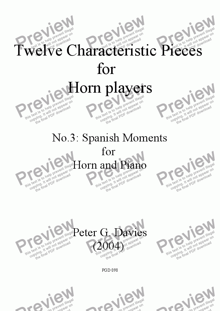 page one of Twelve Characteristic Pieces for Horn Players No.3 Spanish Moments