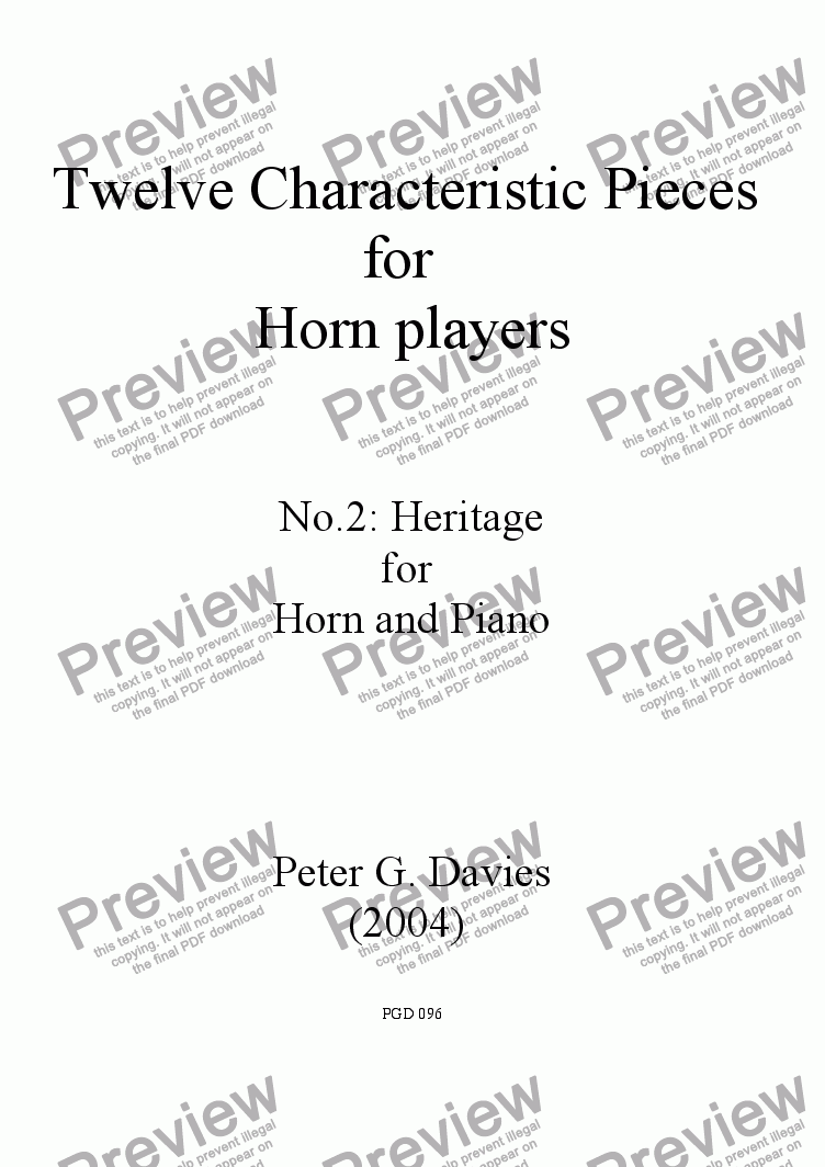 page one of Twelve Characteristic Pieces for Horn Players No.2 Heritage