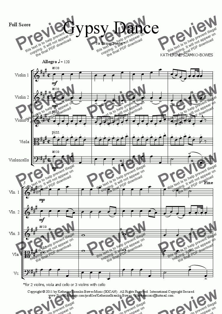 page one of Gypsy Dance (STRING QUARTET/STRING ORCHESTRA)