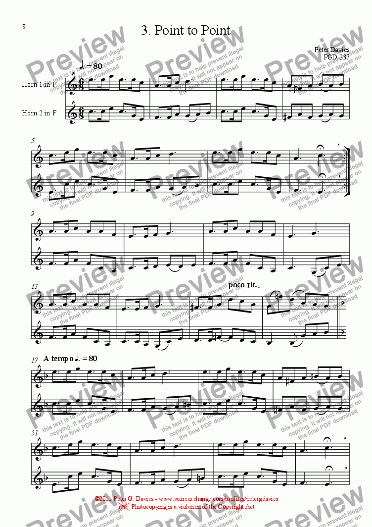 page one of Horn Duets 3. Point to Point