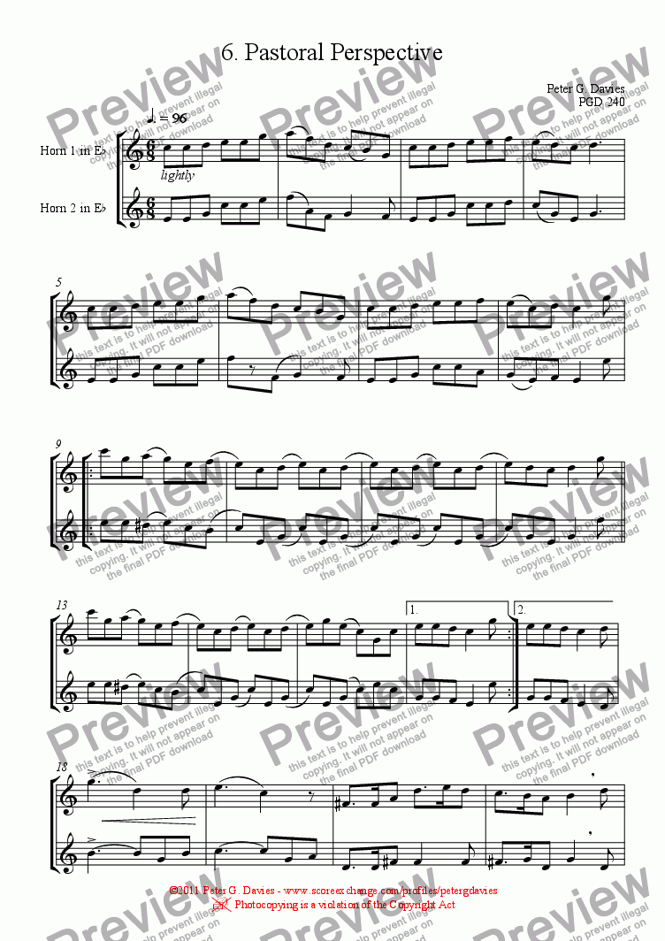 page one of Horn Duets 6. Pastoral Perspective