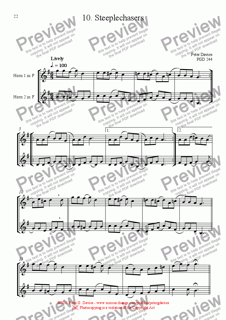 page one of Horn Duets 10. Steeplechasers