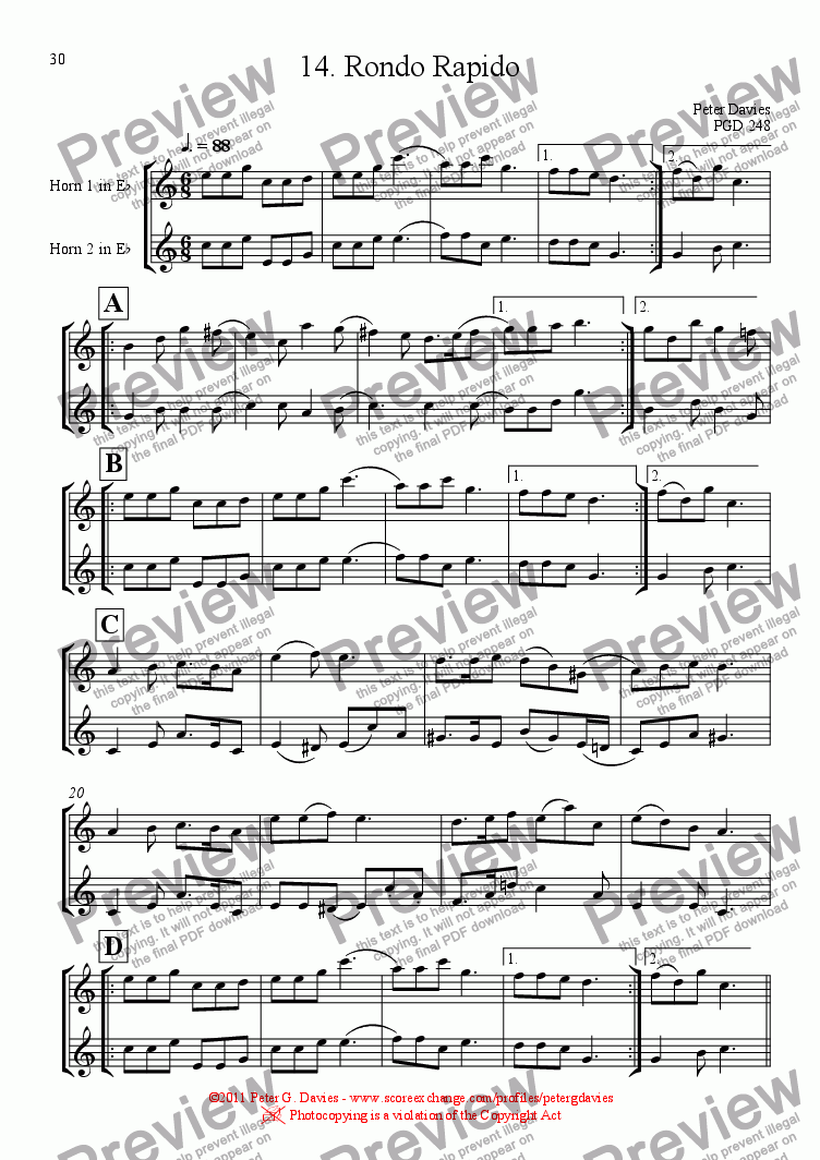 page one of Horn Duets 14. Rondo Rapido