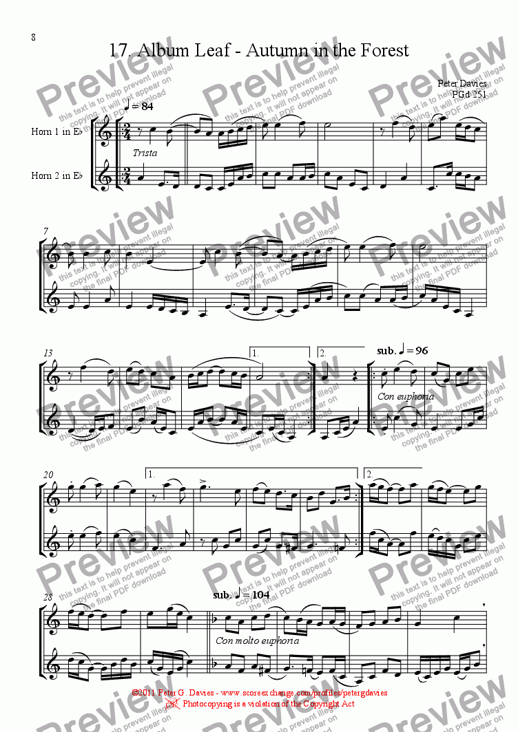 page one of Horn Duets 17. Album Leaf - Autumn in the Forest