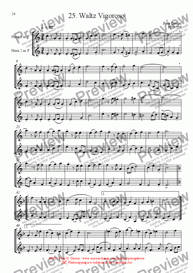 page one of Horn Duets 25. Waltz Vigoroso