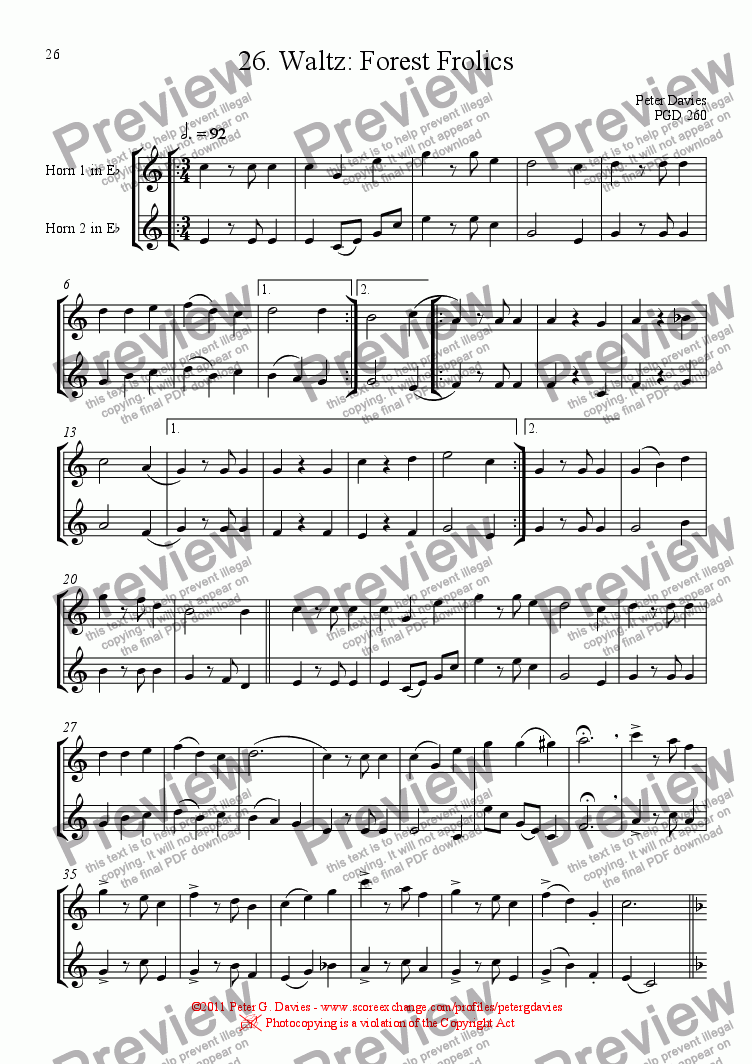 page one of Horn Duets 26. Waltz: Forest FrolicsASALTTEXT
