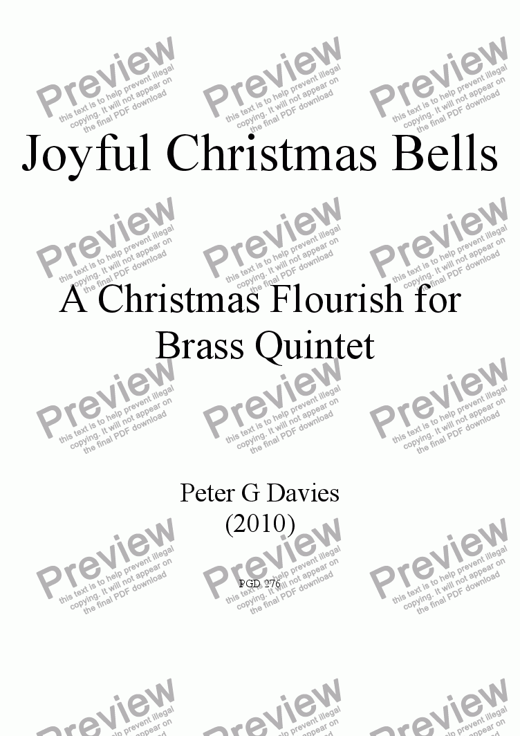 page one of Joyful Christmas Bells for Brass Quintet