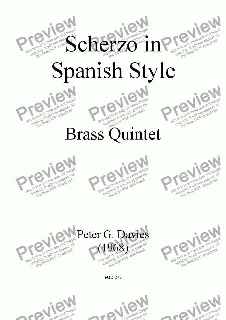 page one of Scherzo in Spanish Style for Brass Quintet