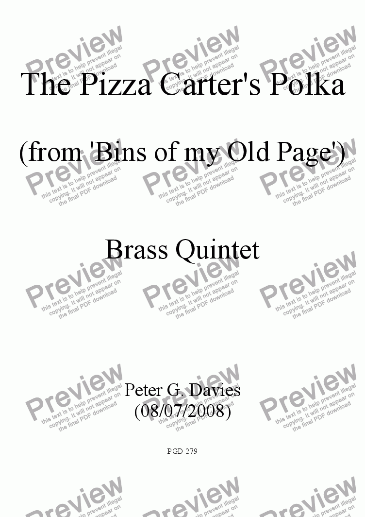 page one of The Pizza Carter's Polka for Brass Quintet