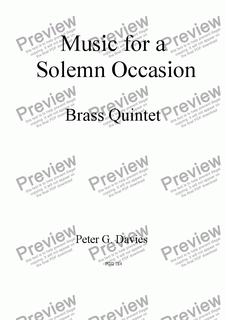 page one of Music for a Solemn Occasion for Brass Quintet