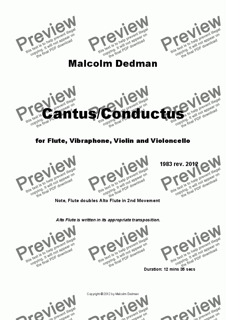 page one of Cantus/Conductus