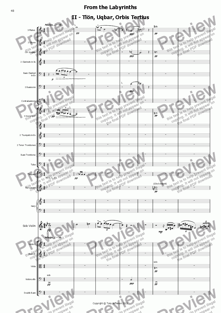 page one of From the Labyrinths 2nd movement