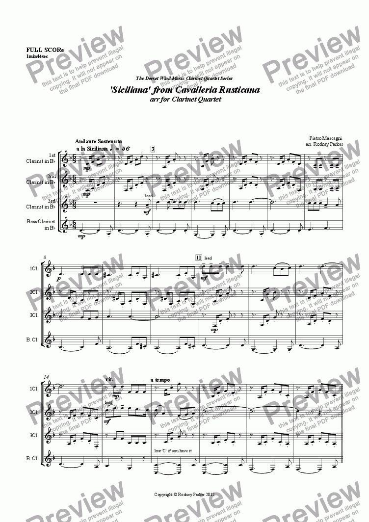 page one of 'Siciliana' from Cavalleria Rusticana  arr for Clarinet QuartetASALTTEXT