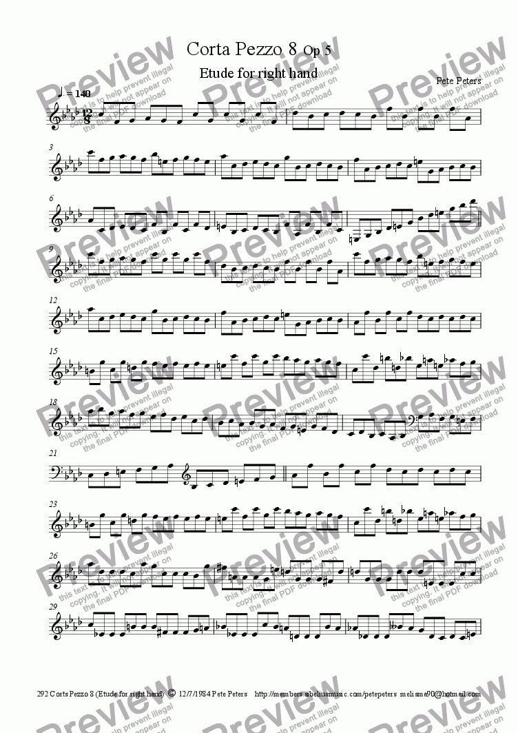 page one of Corta Pezzo 8 (Etude for right hand) pianoASALTTEXT