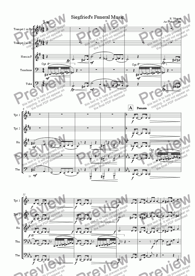 page one of Siegfried's Funeral Music