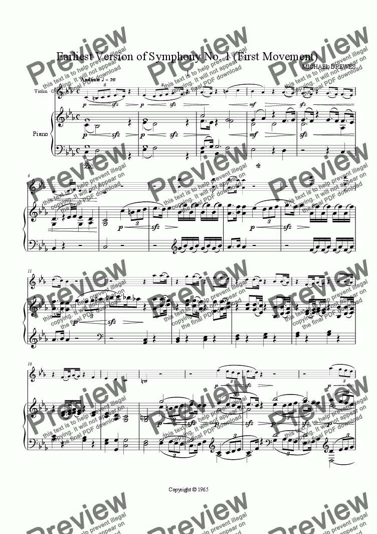 page one of Earliest Version of Symphony No. 1 (First Movement)