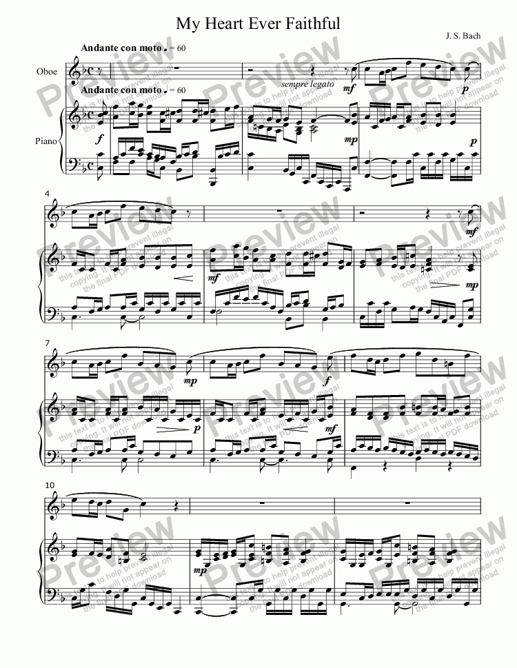 page one of My Heart Ever Faithful - or - Mein gläubiges Herze (J. S. BACH, from Pentecost Cantata, BVW 68) for C-Instrument (e.g., OBOE or VIOLIN) Solo with Organ or Piano accompaniment, arr. by Pamela Webb Tubbs
