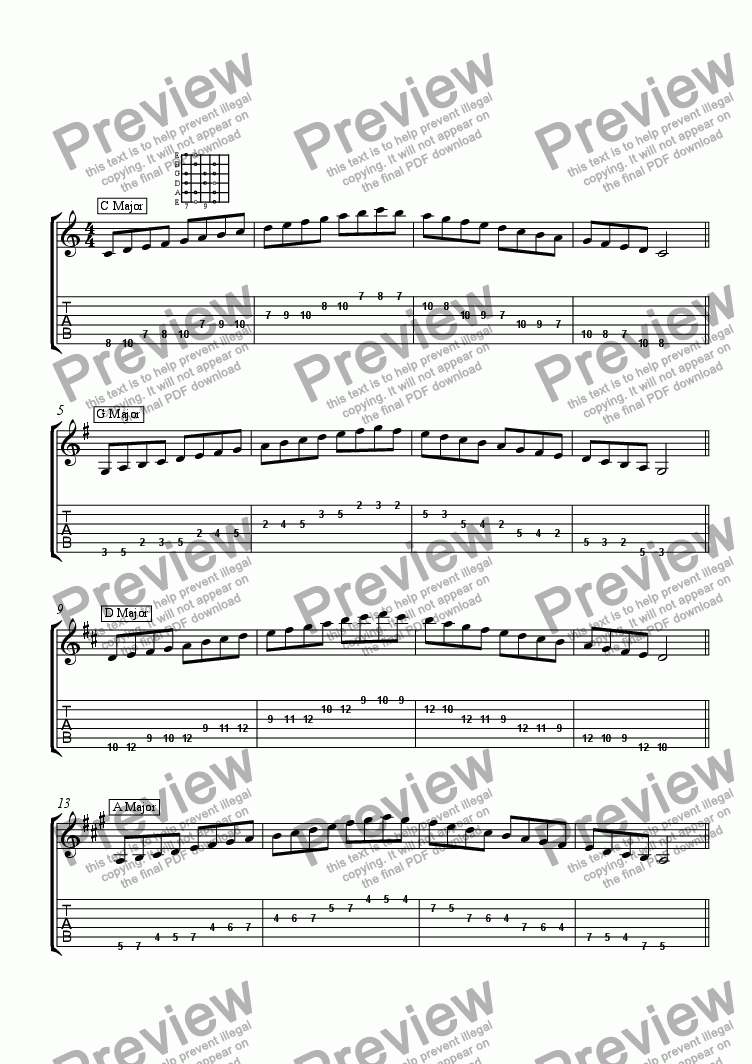 page one of Major Scales