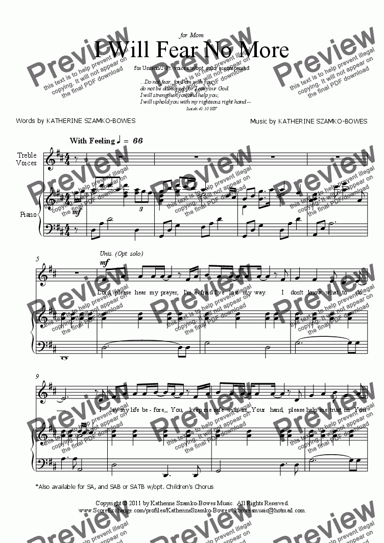page one of I Will Fear No More (Unison/2 Pt.)