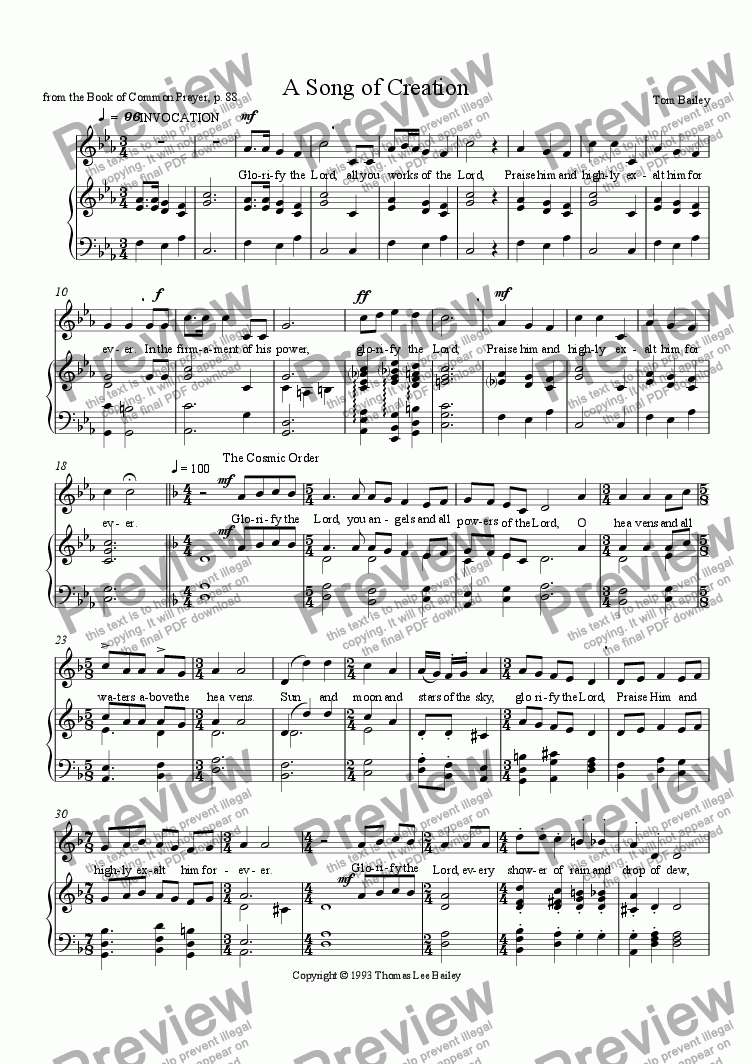 page one of A Song of Creation