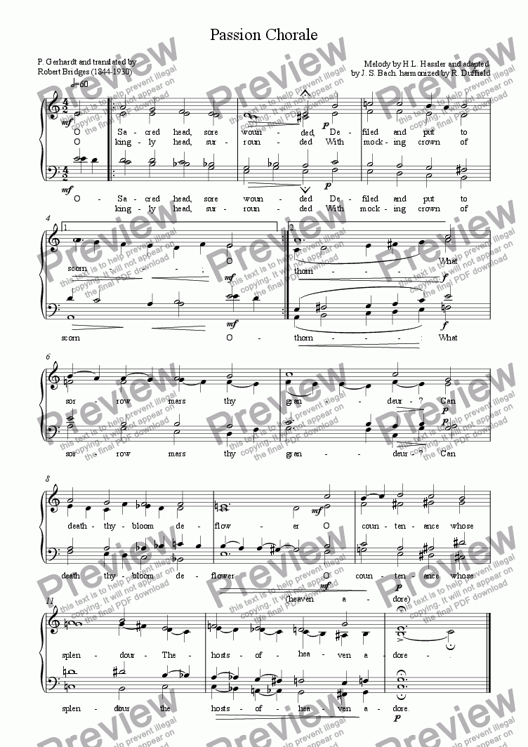 page one of Passion Chorale