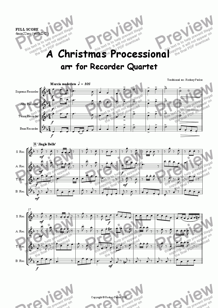 page one of A Christmas Processional  arr for Recorder Quartet