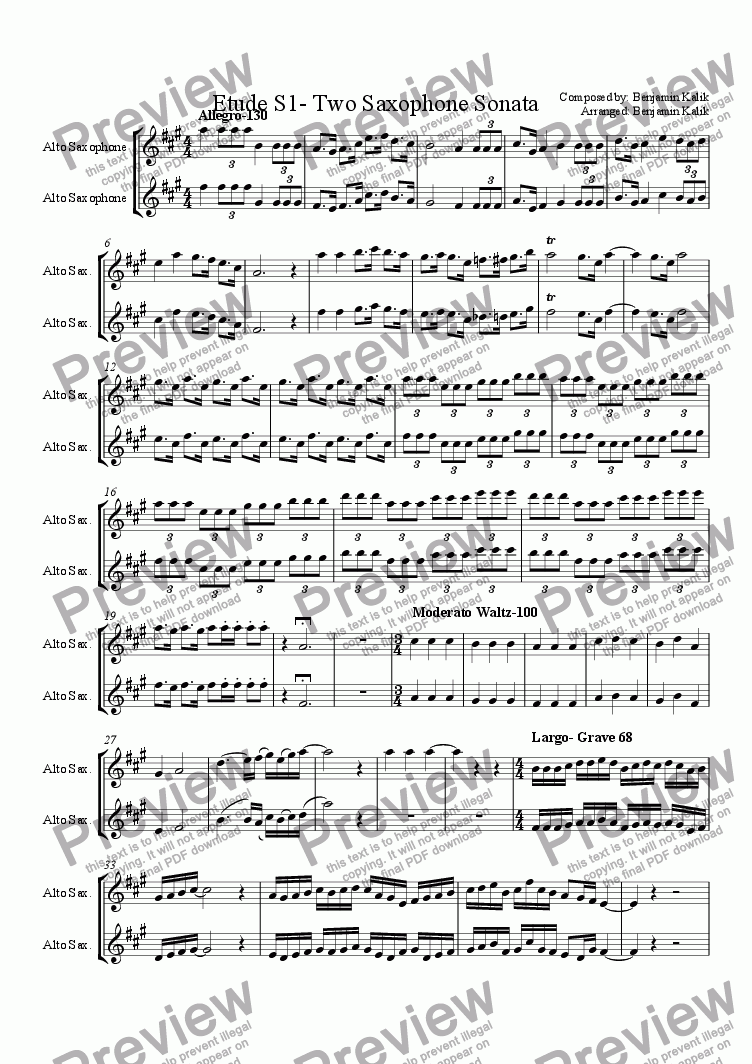 page one of Etude S1- Two Saxophone SonataASALTTEXT