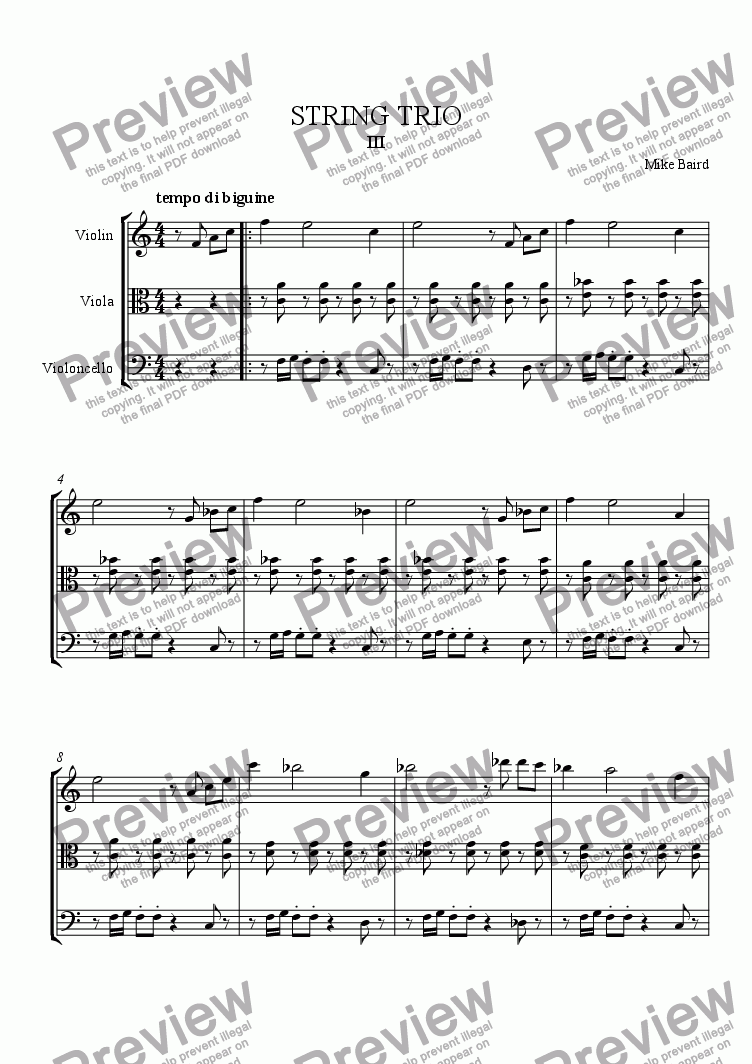 page one of STRING TRIO