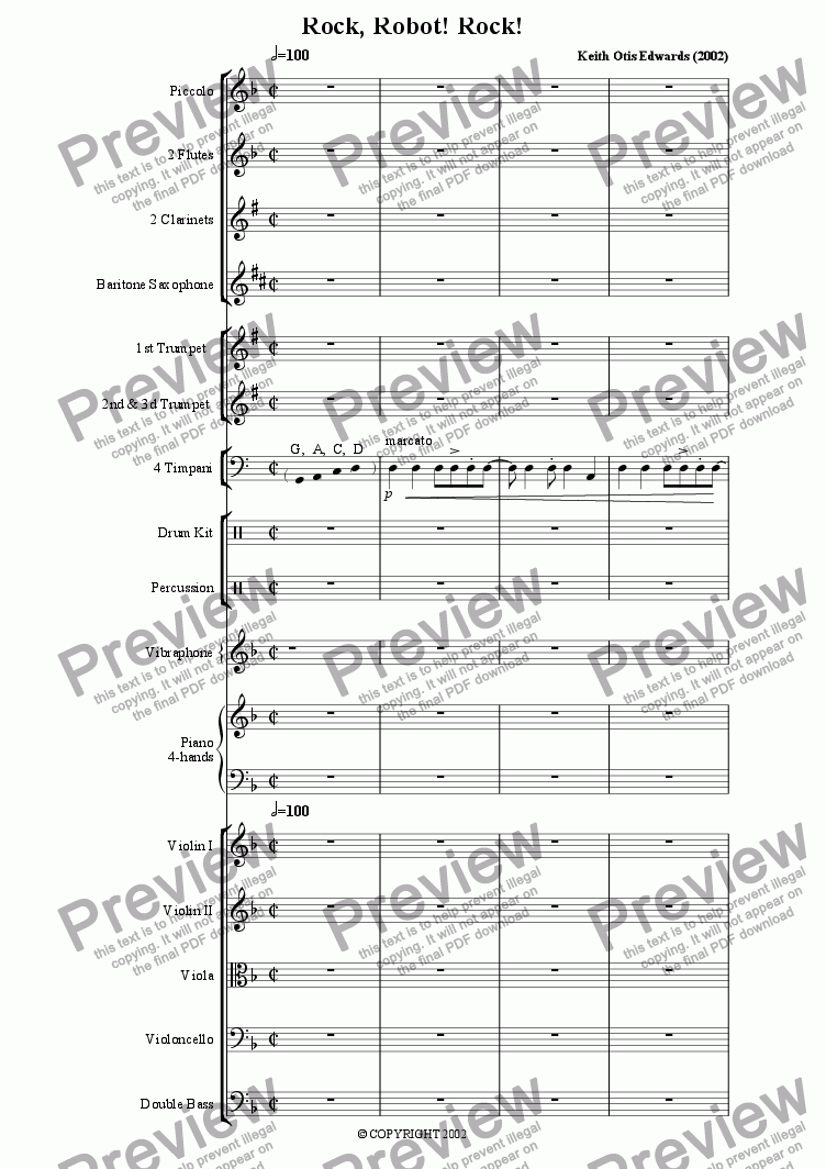 Rock! Robot, Rock! for Orchestra by Keith Otis Edwards - Sheet Music PDF  file to download
