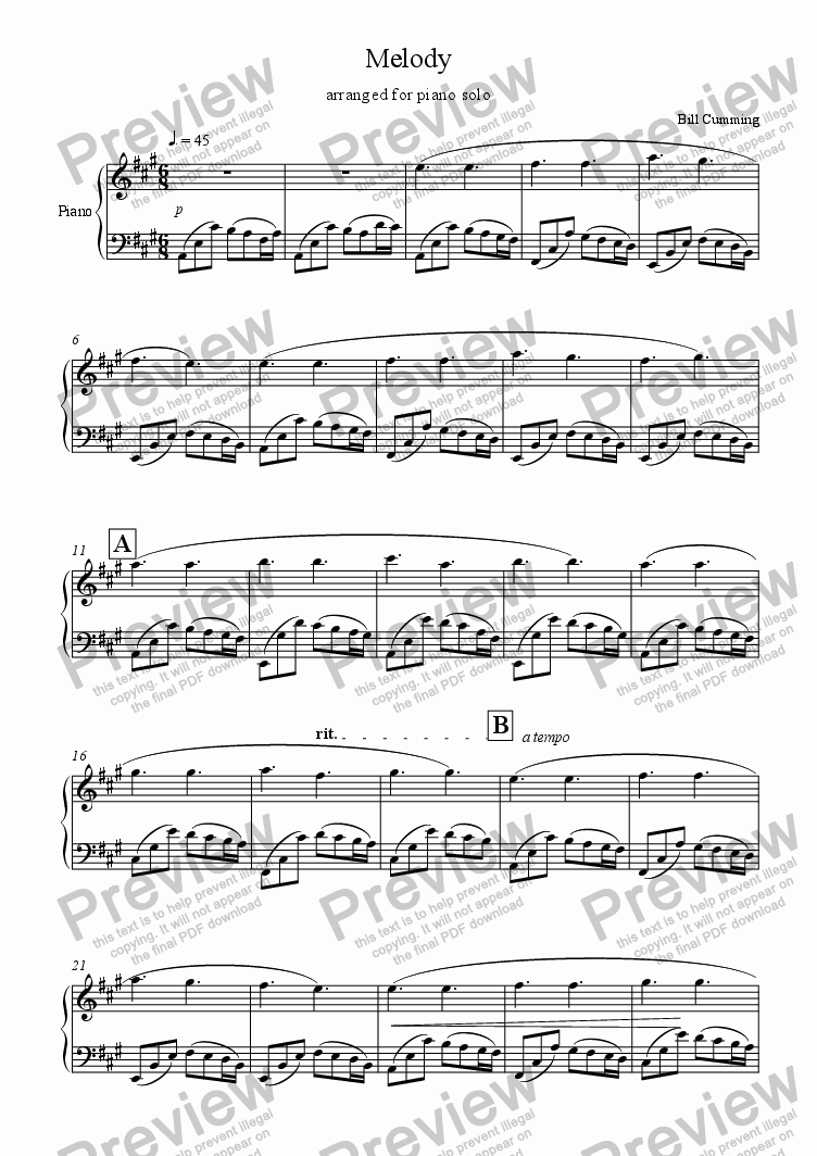 page one of Melody for Piano