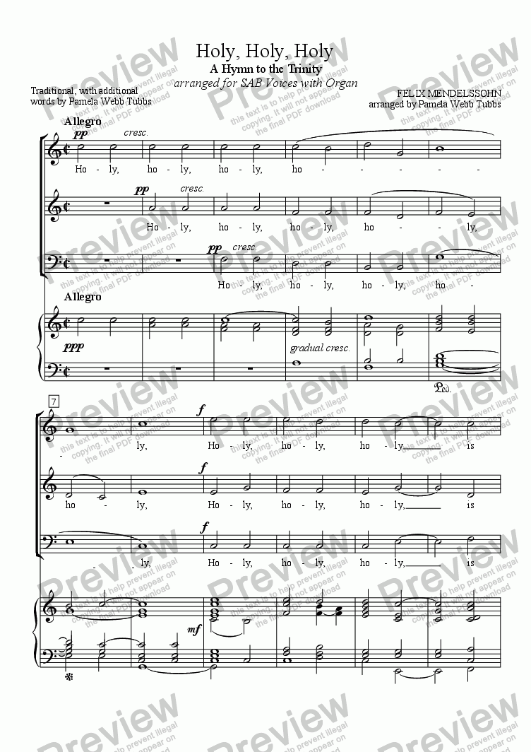 page one of Holy, Holy, Holy (MENDELSSOHN) for 3-part Mixed Voices (SAB) Choir with Organ accompaniment, arr. by Pamela Webb Tubbs