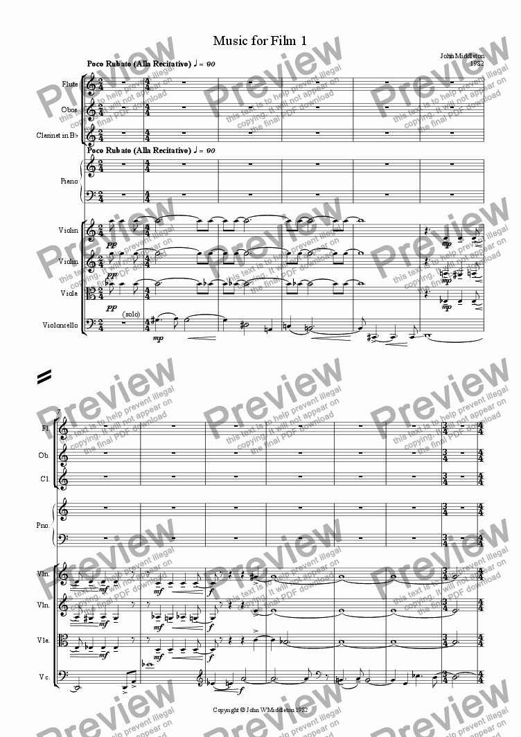 page one of Music for Film 1
