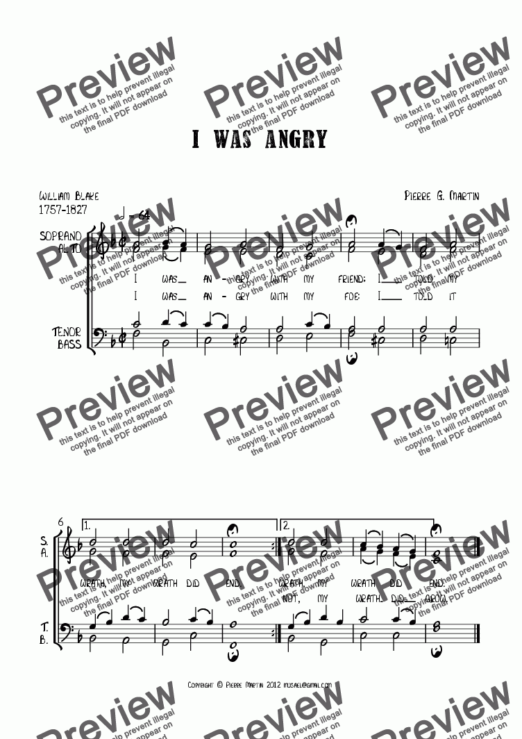page one of I was angry (choral)