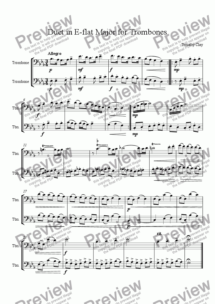 page one of Duet in E-flat Major for Trombones