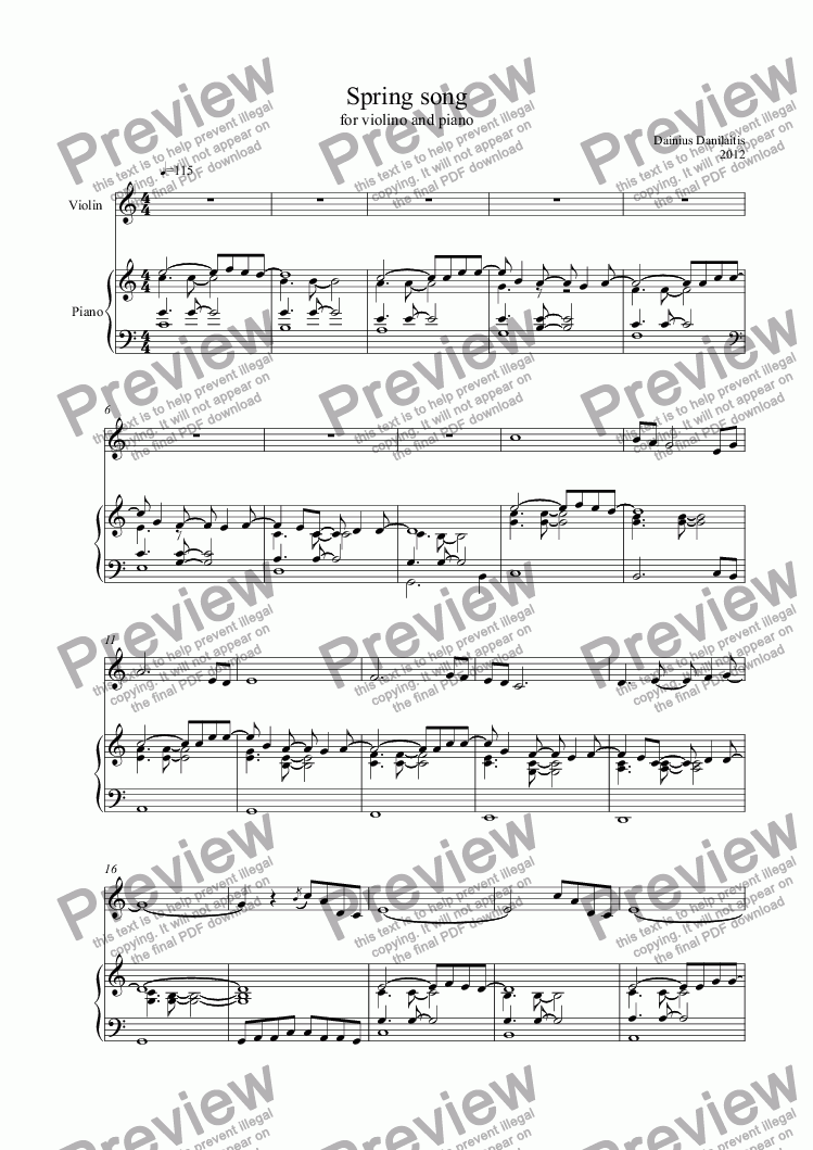 "page one of ""Spring song"" for violin and piano"