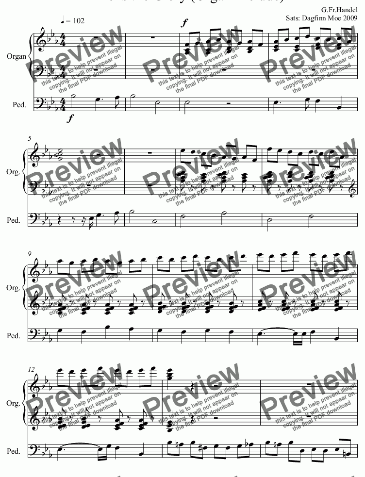 Thine is the Glory (Organ Prelude) for Solo instrument (Organ [manuals with  pedals]) by G Fr Handel Sats: Dagfinn Moe 2009 - Sheet Music PDF file to