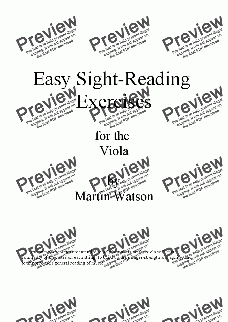 Workbooks violin note reading worksheets : Easy Sight-Reading Exercises for the Viola. - Sheet Music