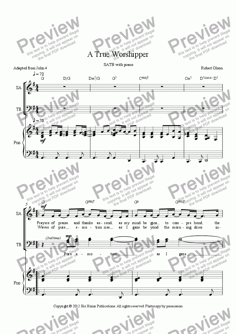 page one of A True Worshipper  SATB with piano