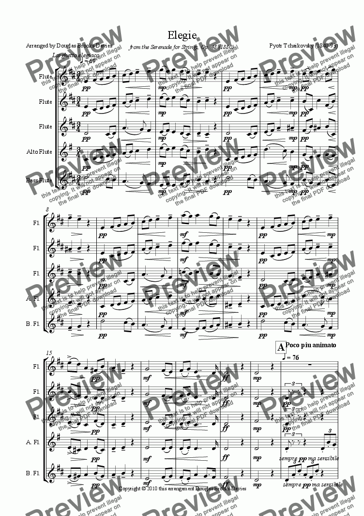 page one of Tchaikovsky: Elegie from the Serenade for Strings (Op. 48) for Flute Choir (3fl, afl, bass fl)