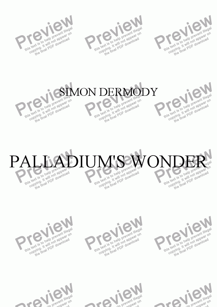 PALLADIO'S WONDER for Large mixed ensemble by SIMON DERMODY - Sheet Music  PDF file to download