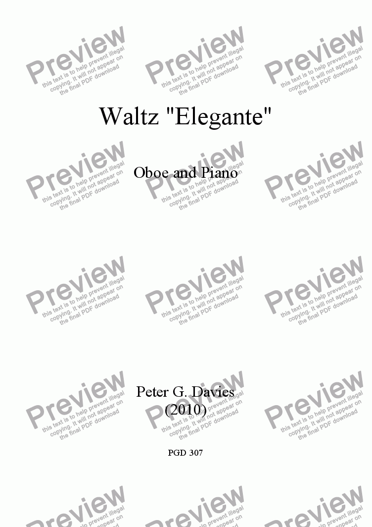 "page one of Waltz ""Elegante"" for Oboe and Piano"