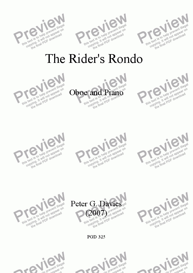 page one of The Rider's Rondo for Oboe and Piano