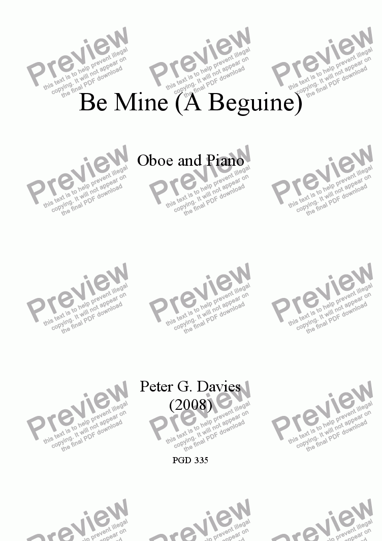 page one of Be Mine (A Beguine) for Oboe and PianoASALTTEXT