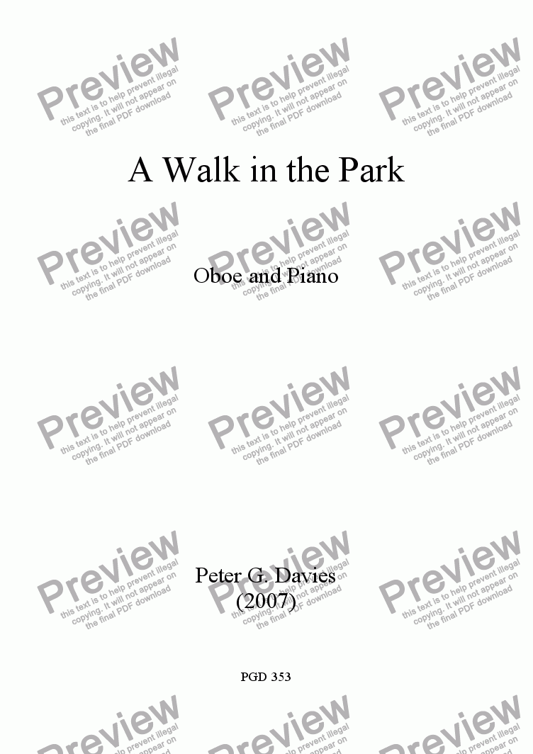 page one of A Walk in the Park for Oboe and PianoASALTTEXT