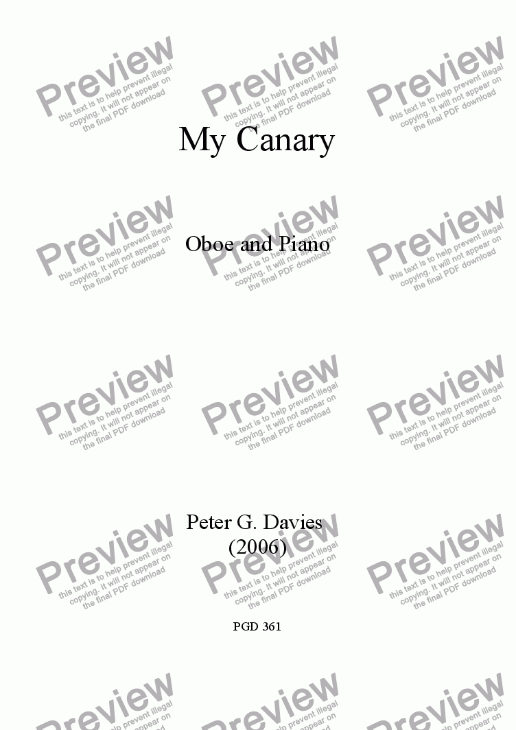 page one of My Canary for Oboe and Piano